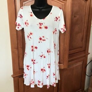Cool Melon White Floral Print Swing Dress